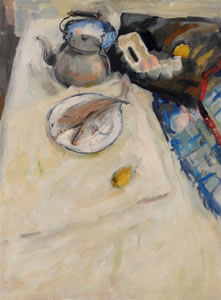 Painting of two fish on a plate, with lemons, eggs and a kettle. By Scottish Artist Hamish MacDonald