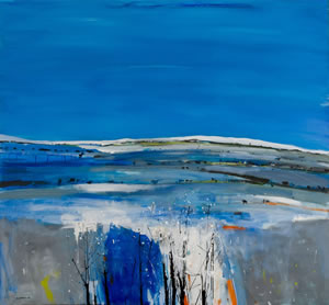 Painting of frozen fields near Arisaig near Lochaber on the west coast of Scotland, by artist Hamish MacDonald