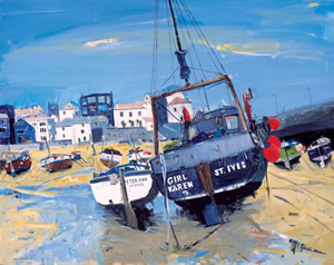 Painting of St Ives Harbour in Cornwall of Fishing Boats at Low Tide. Girl Karen is visible in the foreground.