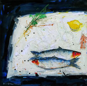 Painting of two herrings and a lemon ready to be cooked, by Scottish Artist Hamish MacDonald