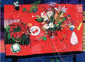 A painting of a red tabletop, laden with various flowers including Poinsettias