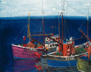 Painting of a harbour showing three fishing boats docked. Scottish Artist Hamish MacDonald
