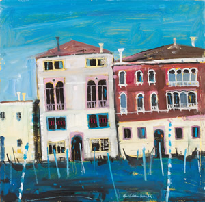 Evening Grand Canal, Venice, painting by Hamish MacDonald, Scottish colourist artist