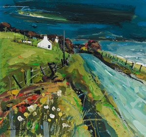 Farm On Arran 1988 painting by Hamish MacDonald, Scottish colourist artist