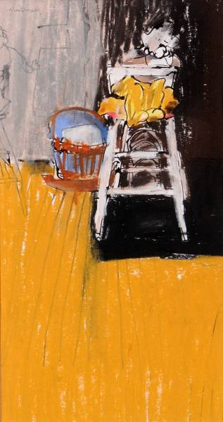 Baby in High Chair, 1967. A Painting By Scottish Artist Hamish MacDonald