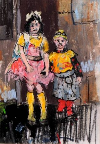 Nadia and Luciano 1990. A Painting of a young boy and a girl holding hands by Scottish Artist Hamish MacDonald