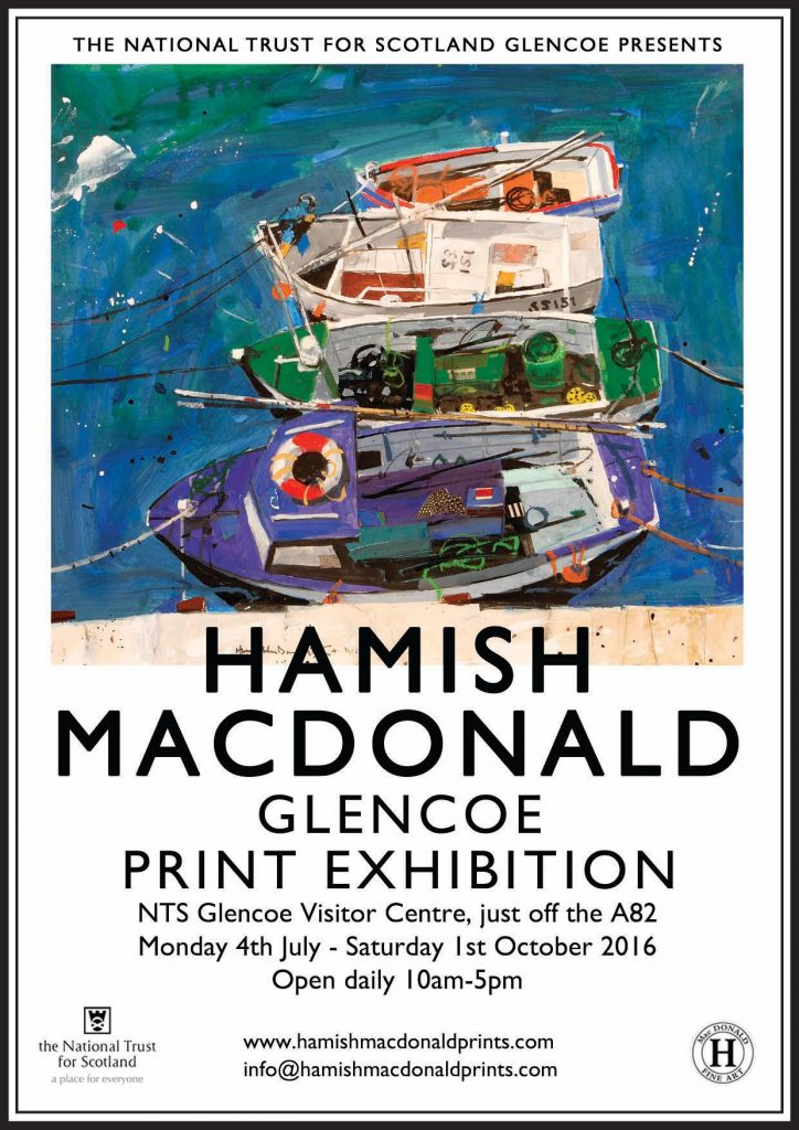 Hamish MacDonald Prints Exhibition coming to The National Trust for Scotland, Glencoe Visitor Centre, Scotland